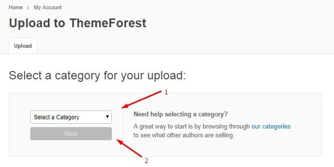 cara memilih kategori di themforest untuk jualan tema website