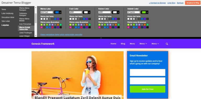 genesis framework template blogger simple dan minimalis