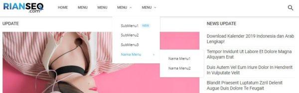 menu dropdown template blogger simple dan keren