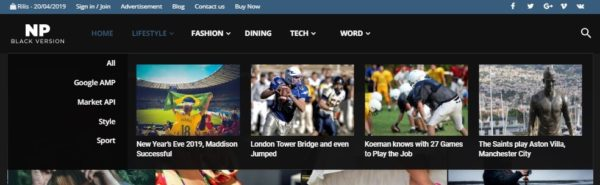 template yang mendukung fiktur mega menu di blogger