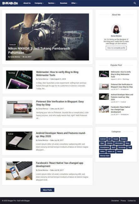 Blogger Pro, Template Blogspot Tipe Blog untuk Menulis